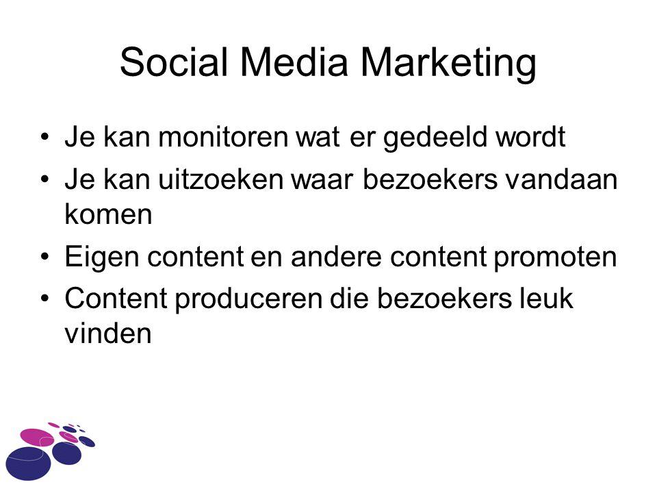 Social Media Marketing Je kan monitoren wat er gedeeld wordt Je kan uitzoeken waar bezoekers vandaan komen Eigen content en andere content promoten Co