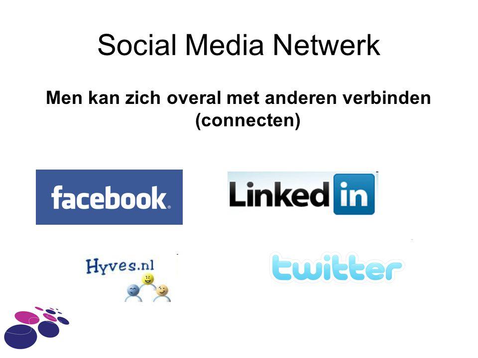 Social Media Netwerk Men kan zich overal met anderen verbinden (connecten)