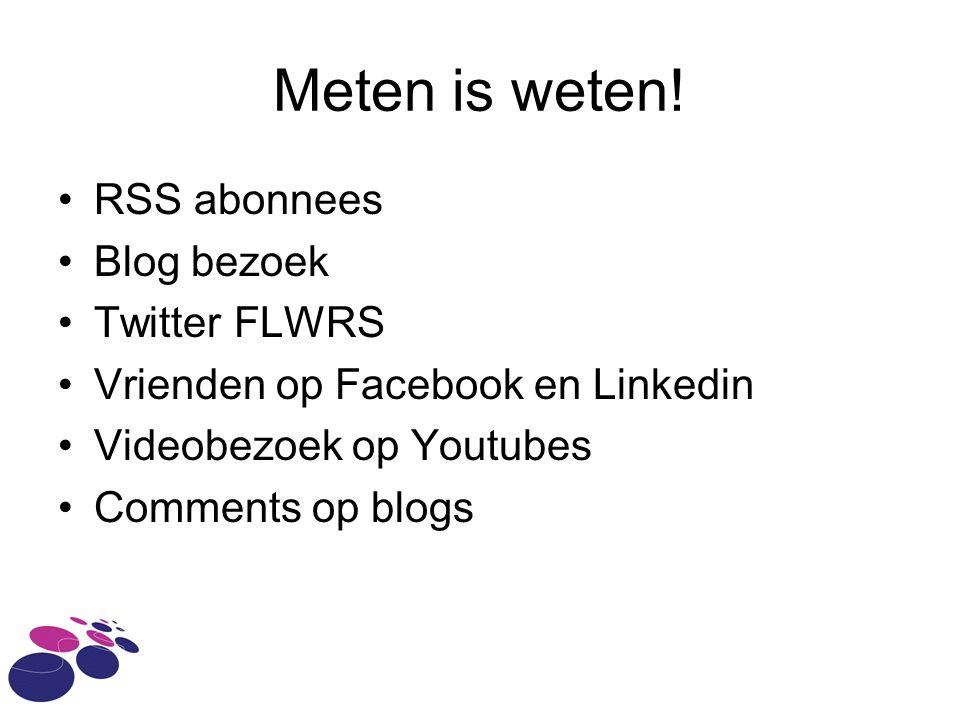 Meten is weten! RSS abonnees Blog bezoek Twitter FLWRS Vrienden op Facebook en Linkedin Videobezoek op Youtubes Comments op blogs