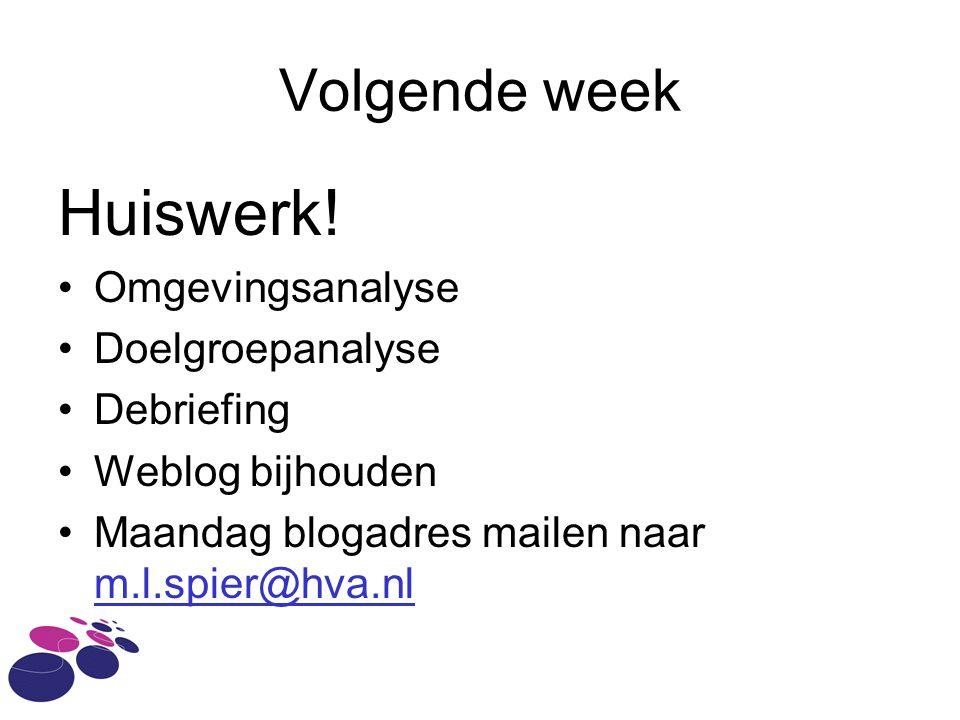 Volgende week Huiswerk! Omgevingsanalyse Doelgroepanalyse Debriefing Weblog bijhouden Maandag blogadres mailen naar m.l.spier@hva.nl m.l.spier@hva.nl