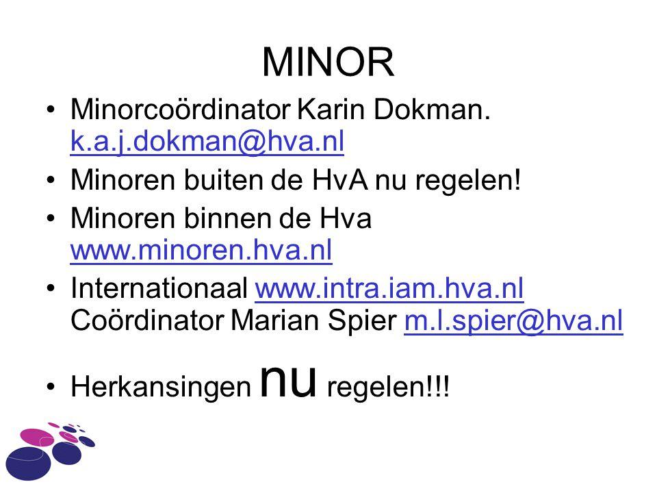 MINOR Minorcoördinator Karin Dokman. k.a.j.dokman@hva.nl k.a.j.dokman@hva.nl Minoren buiten de HvA nu regelen! Minoren binnen de Hva www.minoren.hva.n