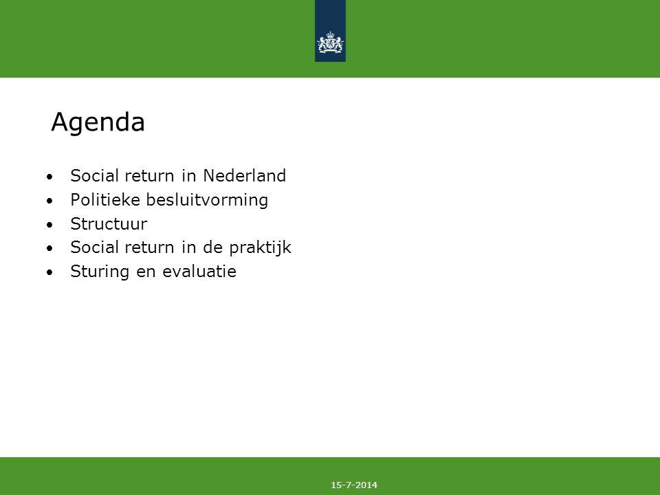 15-7-2014 Agenda Social return in Nederland Politieke besluitvorming Structuur Social return in de praktijk Sturing en evaluatie