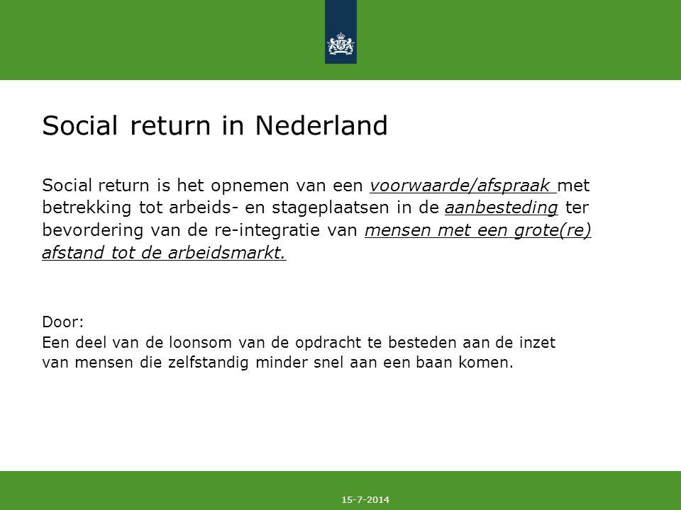 15-7-2014 Social return in Nederland Social return is het opnemen van een voorwaarde/afspraak met betrekking tot arbeids- en stageplaatsen in de aanbe