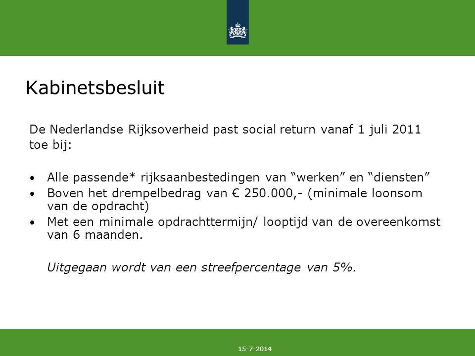 """15-7-2014 Kabinetsbesluit De Nederlandse Rijksoverheid past social return vanaf 1 juli 2011 toe bij: Alle passende* rijksaanbestedingen van """"werken"""" e"""