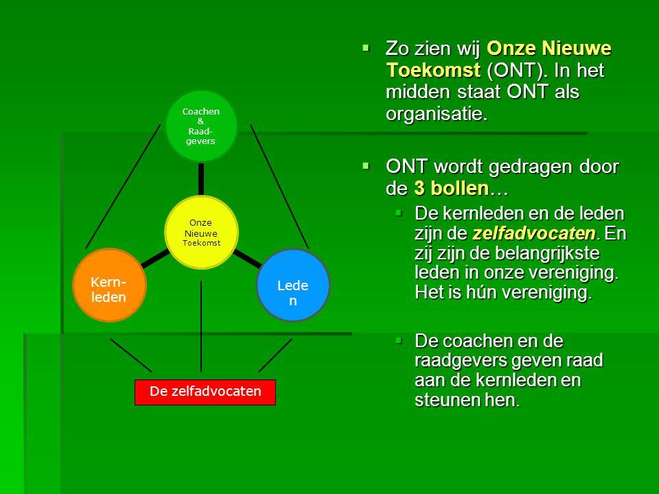  Zo zien wij Onze Nieuwe Toekomst (ONT). In het midden staat ONT als organisatie.