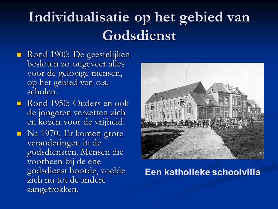 Individualisatie op het gebied van Godsdienst Rond 1900: De geestelijken besloten zo ongeveer alles voor de gelovige mensen, op het gebied van o.a.