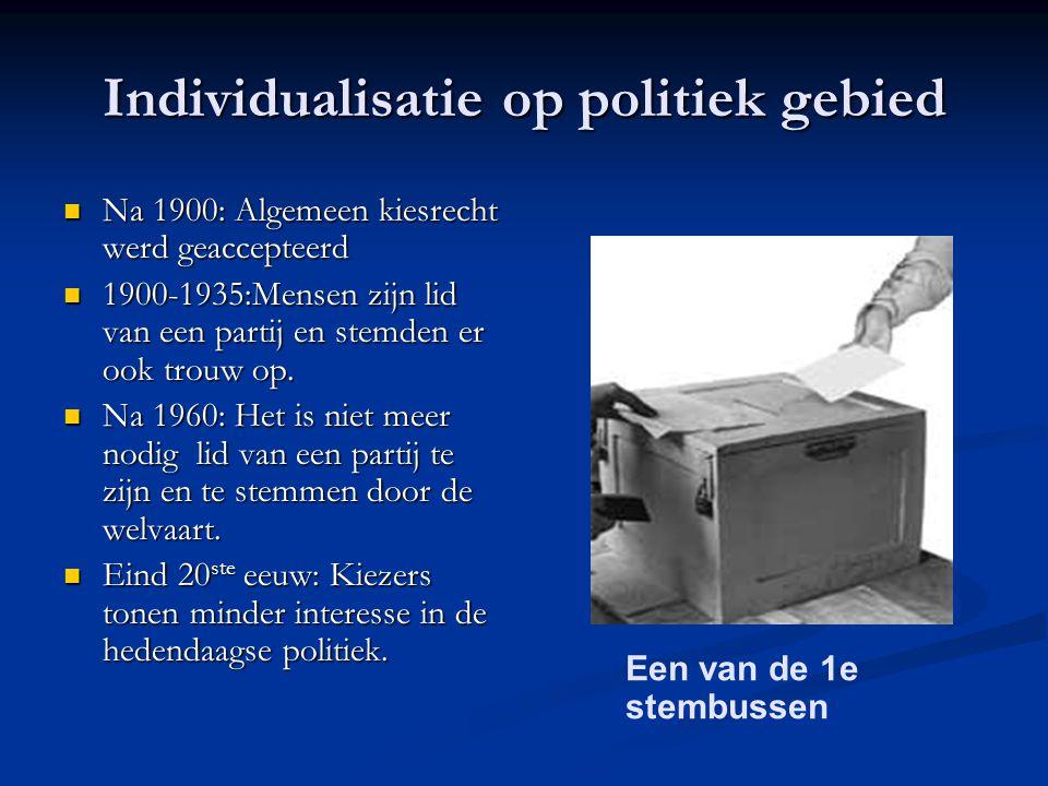 Individualisatie op politiek gebied Na 1900: Algemeen kiesrecht werd geaccepteerd Na 1900: Algemeen kiesrecht werd geaccepteerd 1900-1935:Mensen zijn lid van een partij en stemden er ook trouw op.