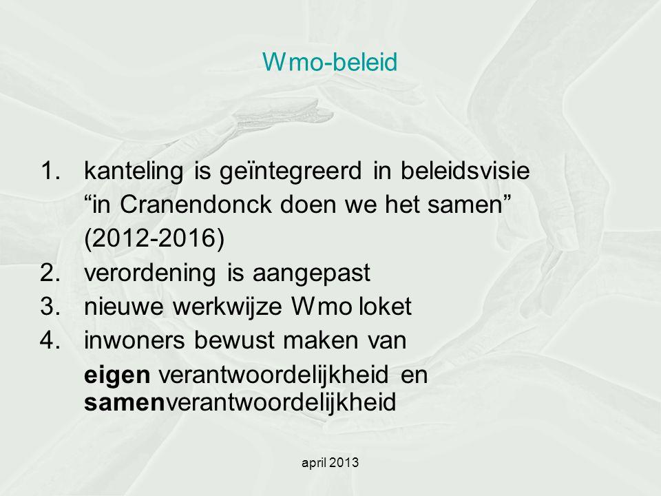 """Wmo-beleid 1.kanteling is geïntegreerd in beleidsvisie """"in Cranendonck doen we het samen"""" (2012-2016) 2.verordening is aangepast 3.nieuwe werkwijze Wm"""