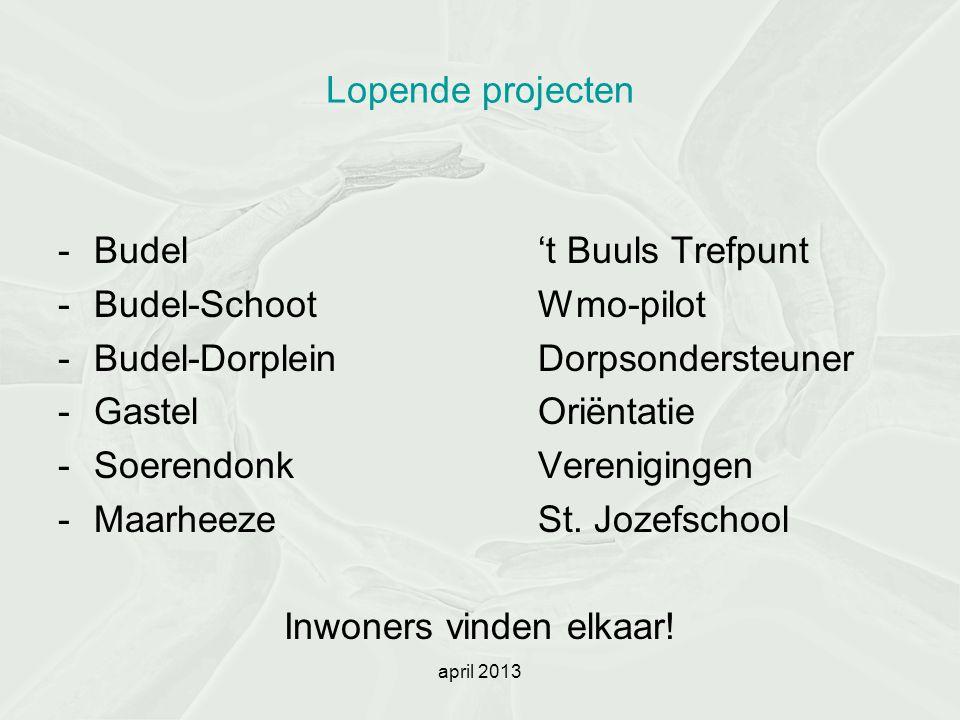 april 2013 Lopende projecten -Budel't Buuls Trefpunt -Budel-SchootWmo-pilot -Budel-DorpleinDorpsondersteuner -GastelOriëntatie -SoerendonkVerenigingen