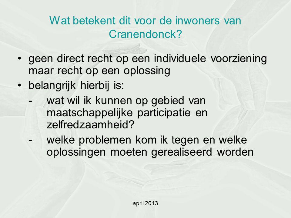 april 2013 Wat betekent dit voor de inwoners van Cranendonck? geen direct recht op een individuele voorziening maar recht op een oplossing belangrijk