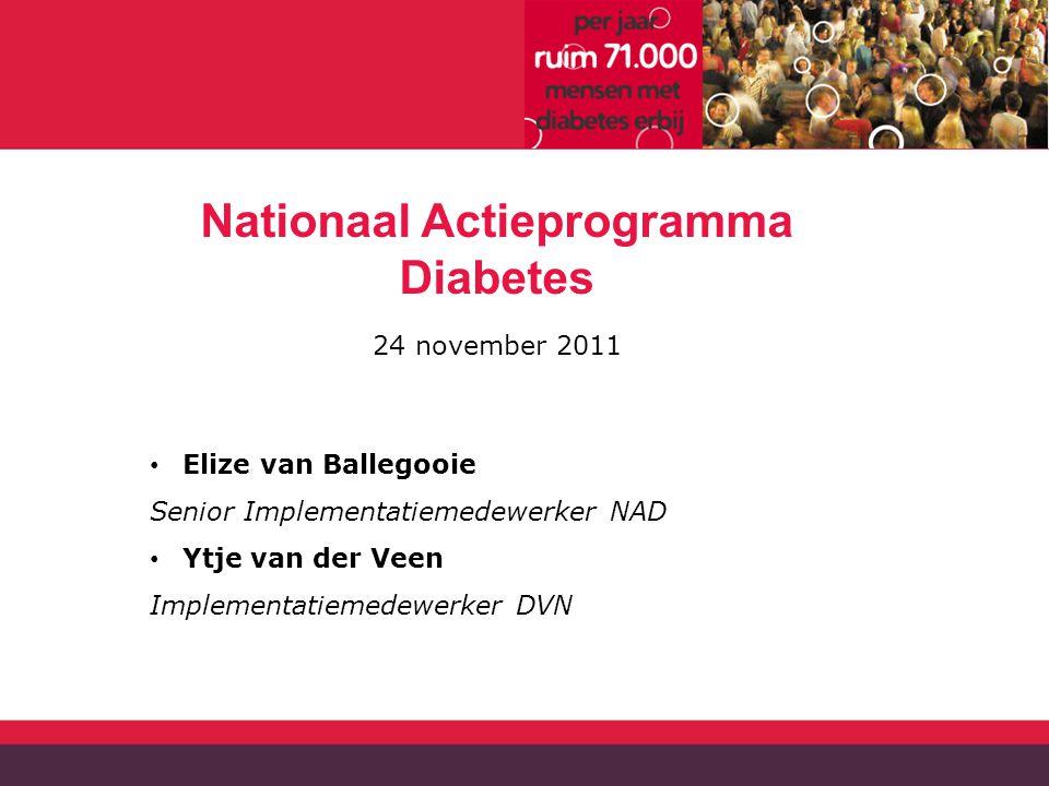 Nationaal Actieprogramma Diabetes 24 november 2011 Elize van Ballegooie Senior Implementatiemedewerker NAD Ytje van der Veen Implementatiemedewerker DVN