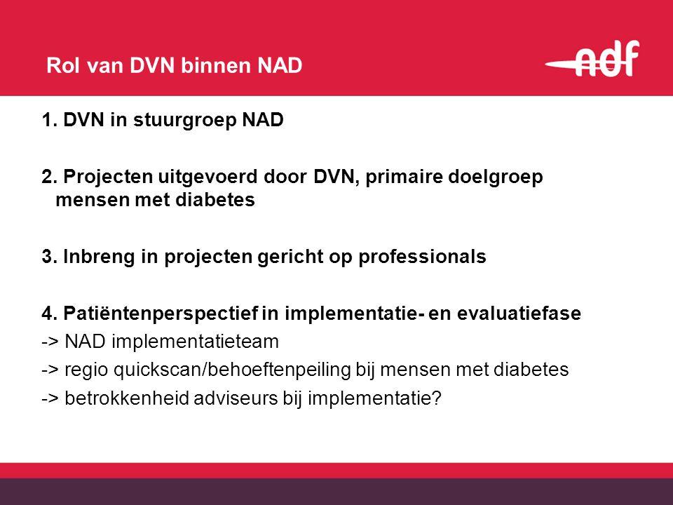 Rol van DVN binnen NAD 1. DVN in stuurgroep NAD 2. Projecten uitgevoerd door DVN, primaire doelgroep mensen met diabetes 3. Inbreng in projecten geric