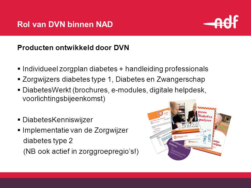 Rol van DVN binnen NAD Producten ontwikkeld door DVN  Individueel zorgplan diabetes + handleiding professionals  Zorgwijzers diabetes type 1, Diabetes en Zwangerschap  DiabetesWerkt (brochures, e-modules, digitale helpdesk, voorlichtingsbijeenkomst)  DiabetesKenniswijzer  Implementatie van de Zorgwijzer diabetes type 2 (NB ook actief in zorggroepregio's!)