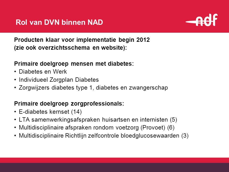 Rol van DVN binnen NAD Producten klaar voor implementatie begin 2012 (zie ook overzichtsschema en website): Primaire doelgroep mensen met diabetes: Di