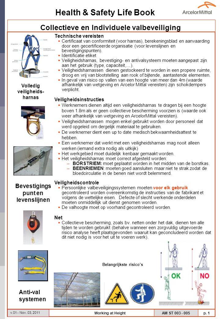 Health & Safety Life Book AM ST 003 - 005 p. 1 v.01 - Nov. 03, 2011 Working at Height Technische vereisten  Certificaat van conformiteit (voor harnas