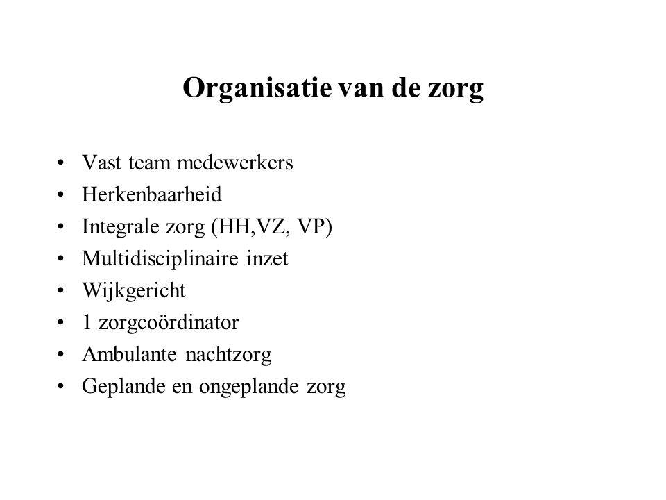 Organisatie van de zorg Vast team medewerkers Herkenbaarheid Integrale zorg (HH,VZ, VP) Multidisciplinaire inzet Wijkgericht 1 zorgcoördinator Ambulan