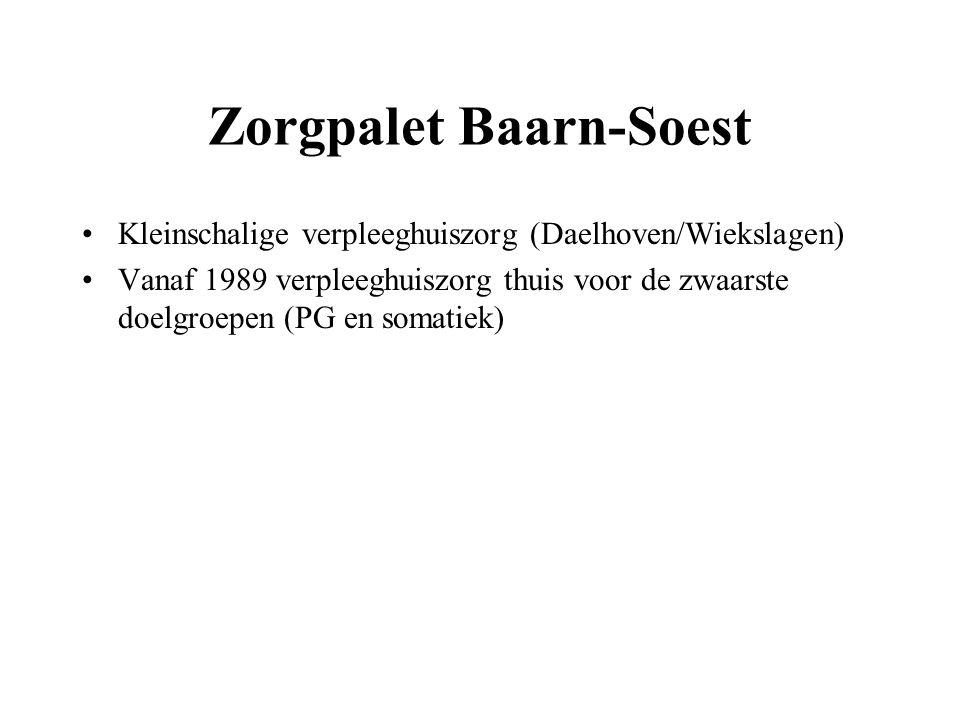 Zorgpalet Baarn-Soest Kleinschalige verpleeghuiszorg (Daelhoven/Wiekslagen) Vanaf 1989 verpleeghuiszorg thuis voor de zwaarste doelgroepen (PG en soma