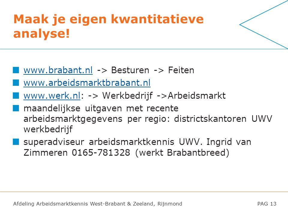 Afdeling Arbeidsmarktkennis West-Brabant & Zeeland, RijnmondPAG 13 Maak je eigen kwantitatieve analyse! www.brabant.nlwww.brabant.nl -> Besturen -> Fe