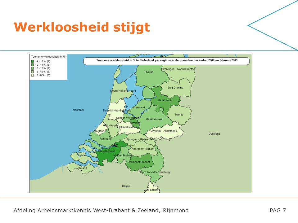 Afdeling Arbeidsmarktkennis West-Brabant & Zeeland, RijnmondPAG 7 Werkloosheid stijgt