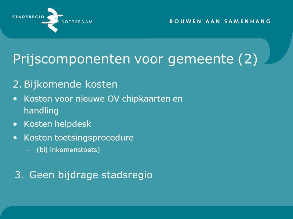 Prijscomponenten voor gemeente (2) 2.Bijkomende kosten Kosten voor nieuwe OV chipkaarten en handling Kosten helpdesk Kosten toetsingsprocedure – (bij