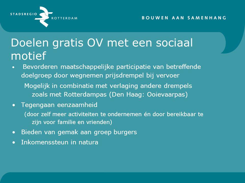 Doelen gratis OV met een sociaal motief Bevorderen maatschappelijke participatie van betreffende doelgroep door wegnemen prijsdrempel bij vervoer Mogelijk in combinatie met verlaging andere drempels zoals met Rotterdampas (Den Haag: Ooievaarpas) Tegengaan eenzaamheid (door zelf meer activiteiten te ondernemen én door bereikbaar te zijn voor familie en vrienden) Bieden van gemak aan groep burgers Inkomenssteun in natura