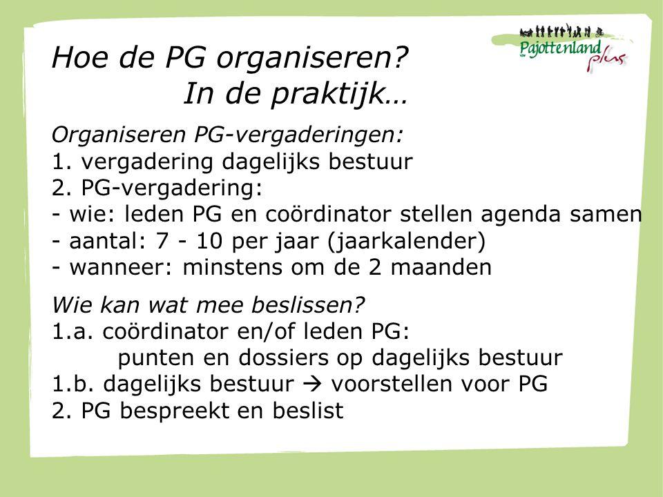 Hoe de PG organiseren.In de praktijk… Organiseren PG-vergaderingen: 1.