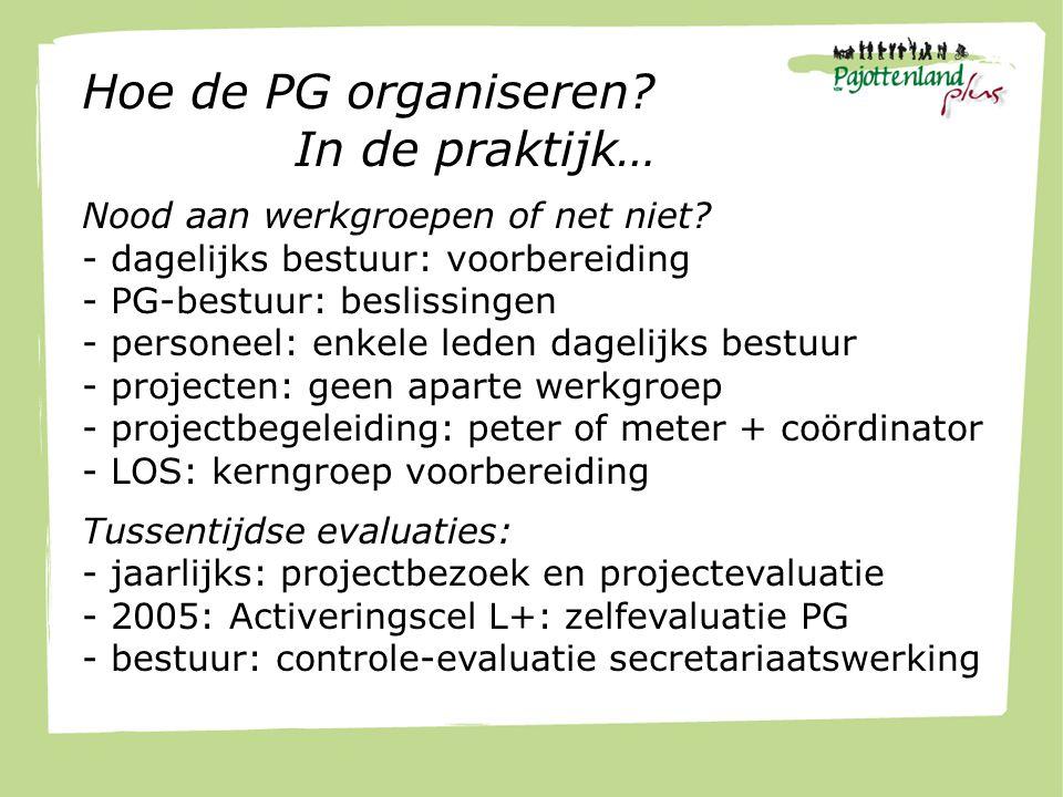 Hoe de PG organiseren.In de praktijk… Nood aan werkgroepen of net niet.