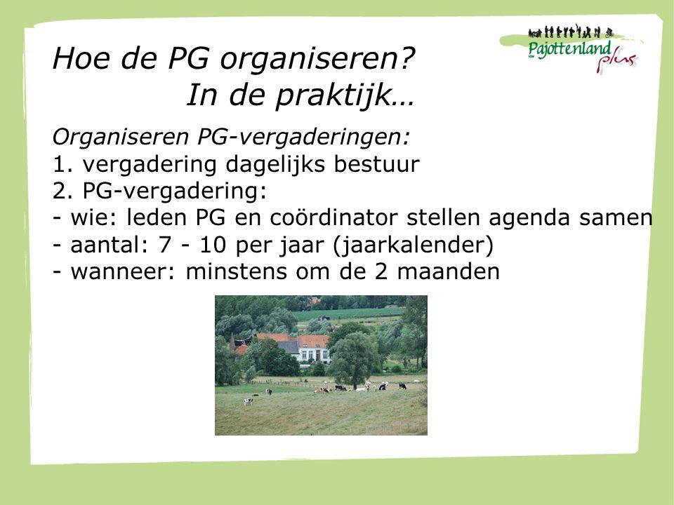 Hoe de PG organiseren. In de praktijk… Organiseren PG-vergaderingen: 1.