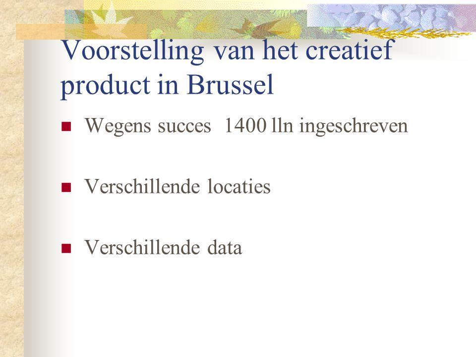 Voorstelling van het creatief product in Brussel Wegens succes 1400 lln ingeschreven Verschillende locaties Verschillende data