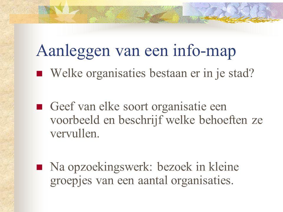 Aanleggen van een info-map Welke organisaties bestaan er in je stad? Geef van elke soort organisatie een voorbeeld en beschrijf welke behoeften ze ver