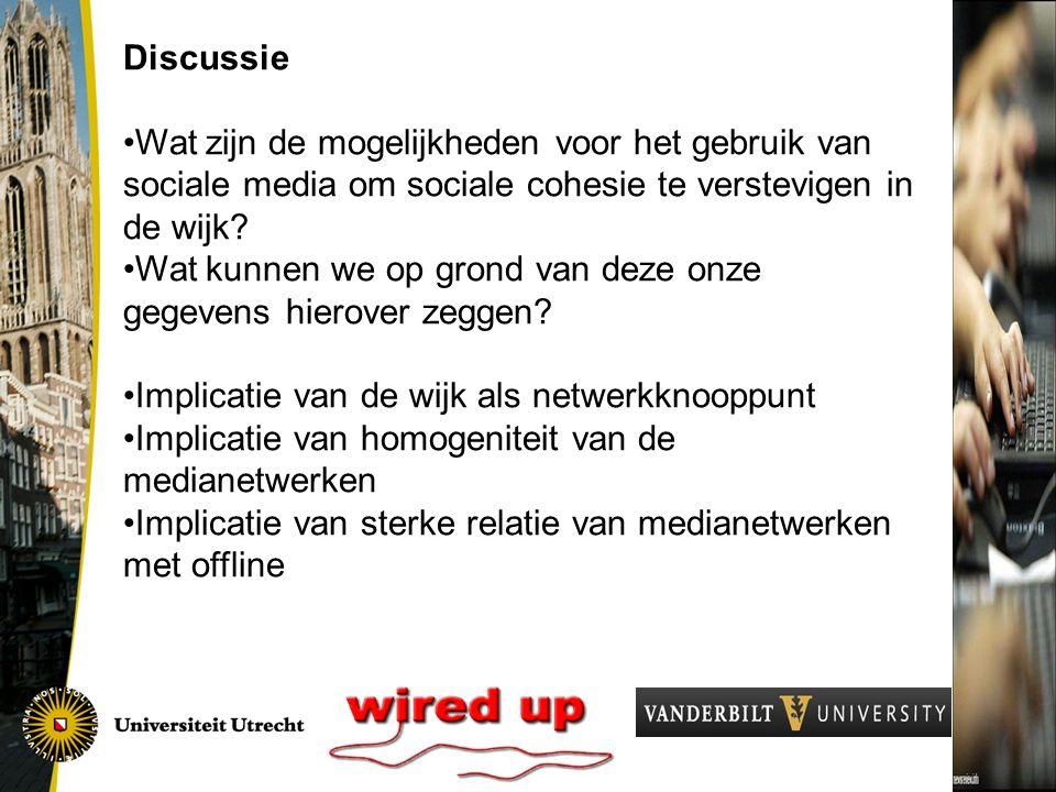 Discussie Wat zijn de mogelijkheden voor het gebruik van sociale media om sociale cohesie te verstevigen in de wijk.
