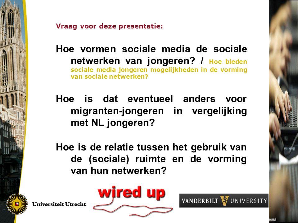 Vraag voor deze presentatie: Hoe vormen sociale media de sociale netwerken van jongeren.