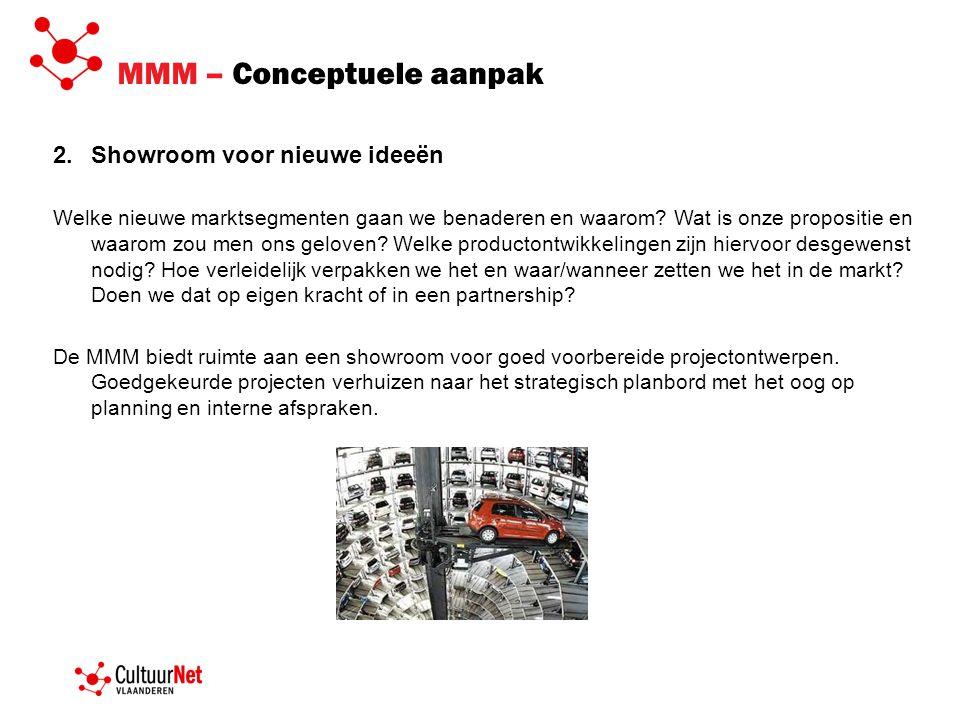 MMM – Conceptuele aanpak 2.Showroom voor nieuwe ideeën Welke nieuwe marktsegmenten gaan we benaderen en waarom? Wat is onze propositie en waarom zou m