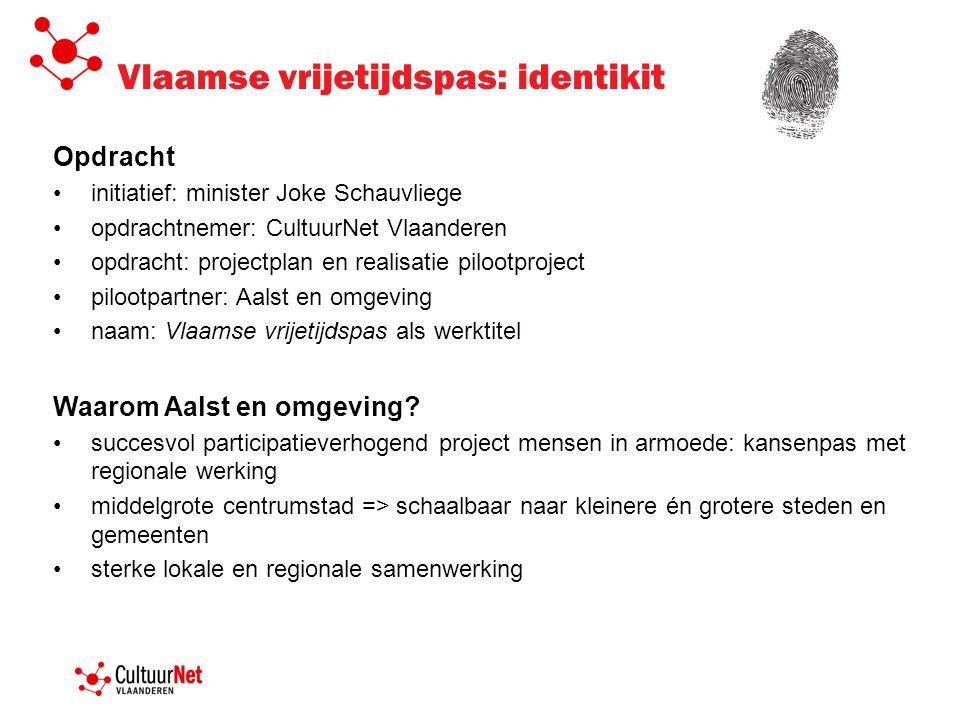 Vlaamse vrijetijdspas: identikit Opdracht initiatief: minister Joke Schauvliege opdrachtnemer: CultuurNet Vlaanderen opdracht: projectplan en realisat