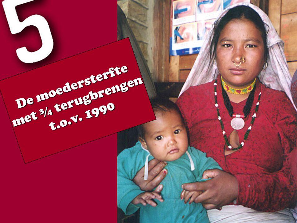 De moedersterfte met ¾ terugbrengen t.o.v. 1990