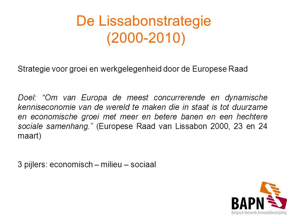 """De Lissabonstrategie (2000-2010) Strategie voor groei en werkgelegenheid door de Europese Raad Doel: """"Om van Europa de meest concurrerende en dynamisc"""