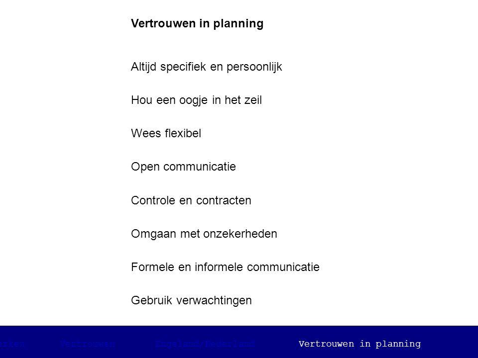 Vertrouwen in planning Altijd specifiek en persoonlijk Hou een oogje in het zeil Wees flexibel Open communicatie Controle en contracten Omgaan met onz
