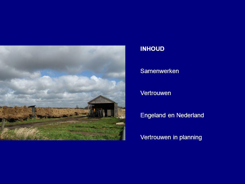 INHOUD Samenwerken Vertrouwen Engeland en Nederland Vertrouwen in planning