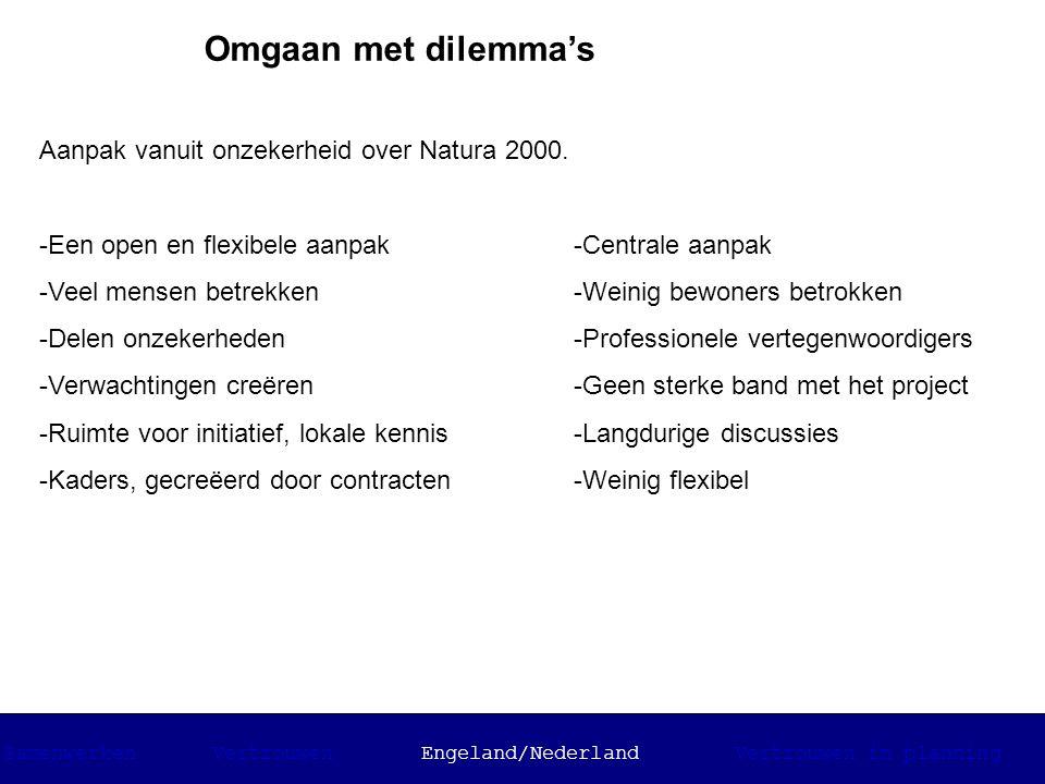 Omgaan met dilemma's Aanpak vanuit onzekerheid over Natura 2000. -Een open en flexibele aanpak -Veel mensen betrekken -Delen onzekerheden -Verwachting