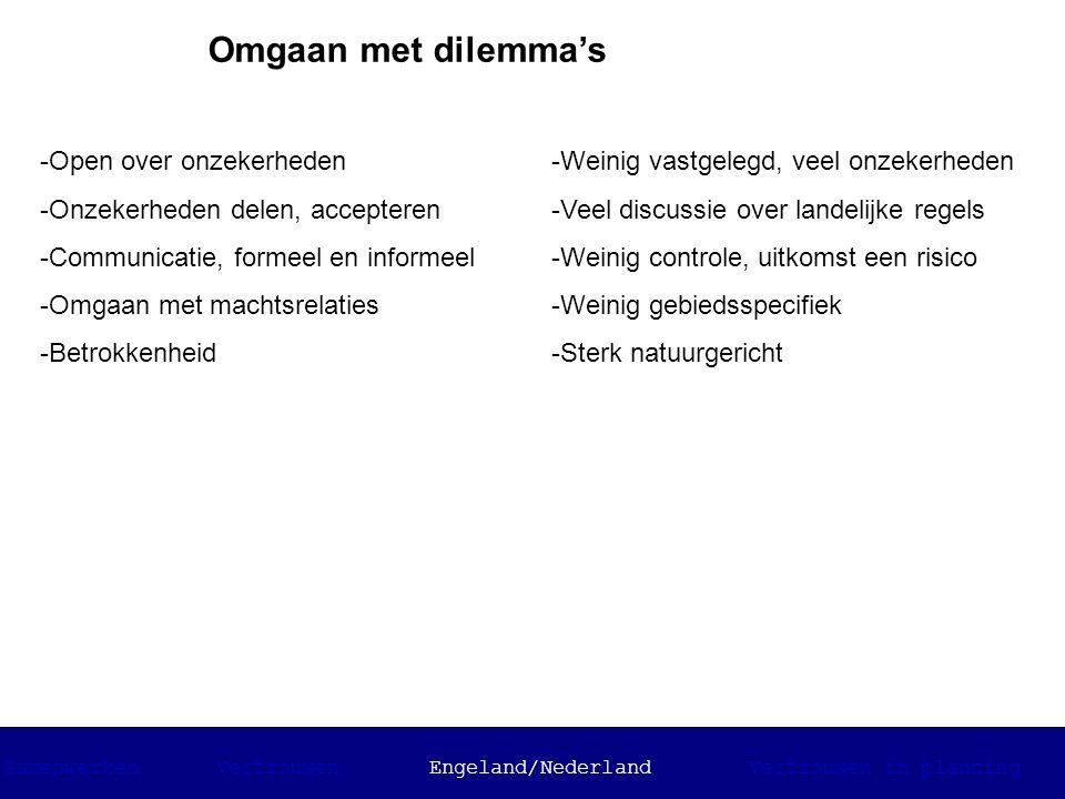 Omgaan met dilemma's -Open over onzekerheden -Onzekerheden delen, accepteren -Communicatie, formeel en informeel -Omgaan met machtsrelaties -Betrokken