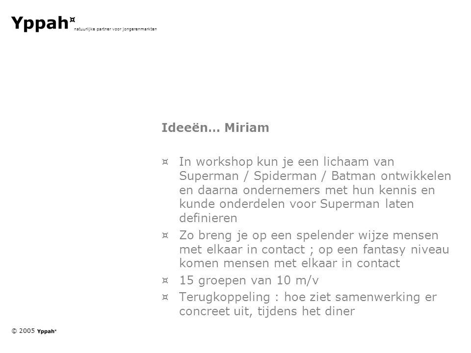 © 2005 natuurlijke partner voor jongerenmarkten Ideeën… Miriam ¤In workshop kun je een lichaam van Superman / Spiderman / Batman ontwikkelen en daarna