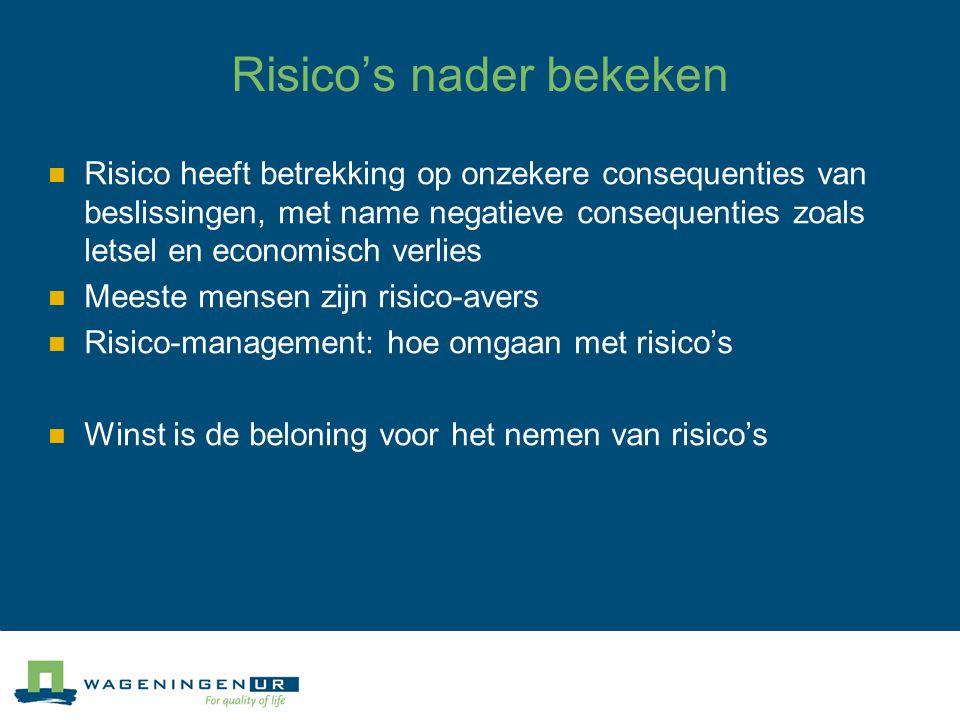 Risico's nader bekeken Risico heeft betrekking op onzekere consequenties van beslissingen, met name negatieve consequenties zoals letsel en economisch verlies Meeste mensen zijn risico-avers Risico-management: hoe omgaan met risico's Winst is de beloning voor het nemen van risico's