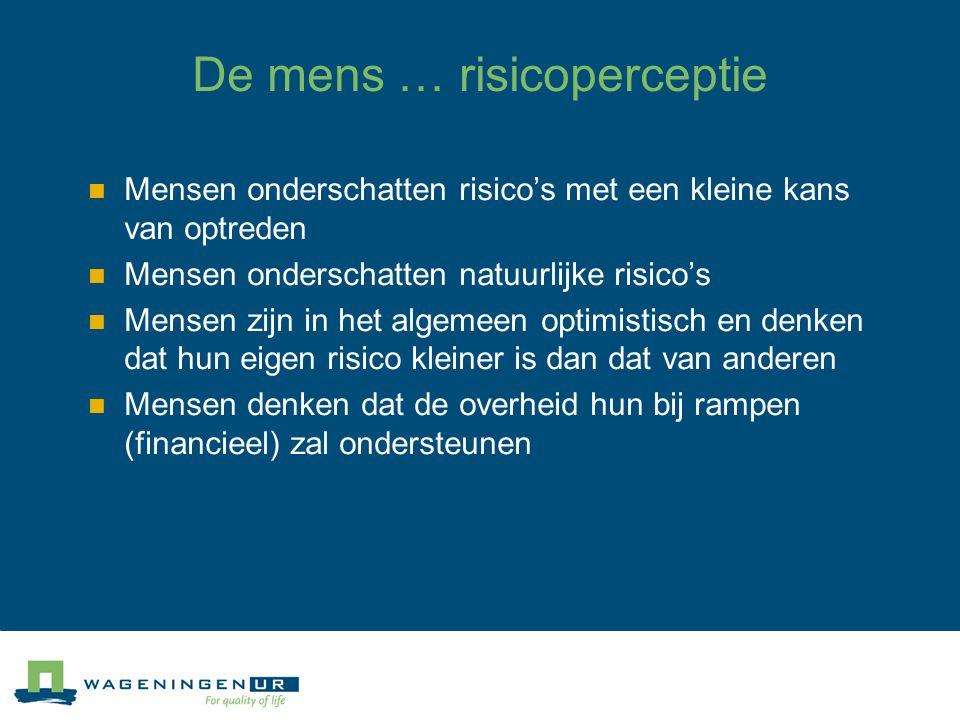De mens … risicoperceptie Mensen onderschatten risico's met een kleine kans van optreden Mensen onderschatten natuurlijke risico's Mensen zijn in het algemeen optimistisch en denken dat hun eigen risico kleiner is dan dat van anderen Mensen denken dat de overheid hun bij rampen (financieel) zal ondersteunen