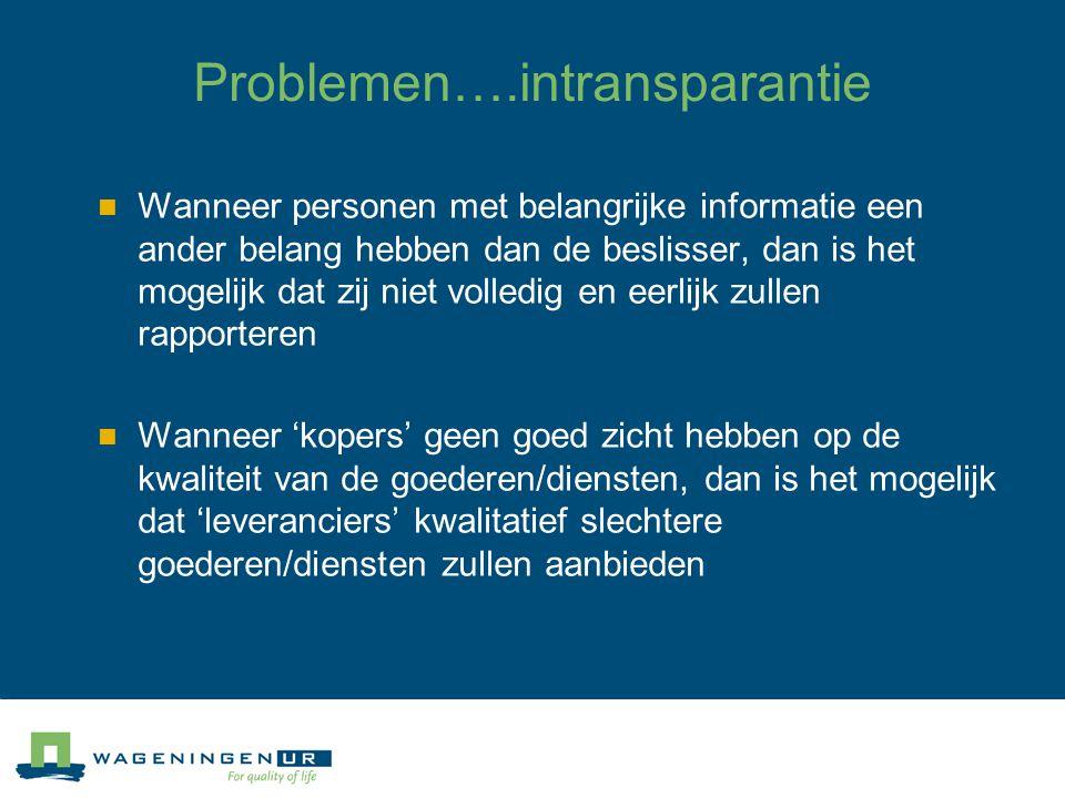 Verdere complicaties Asymmetrische informatie (intransparantie) Moral hazard en adverse selection Eigenbelang voor alles (bedrijfsleven en overheid) Hoge kosten voor monitoring Geen goede marktwerking