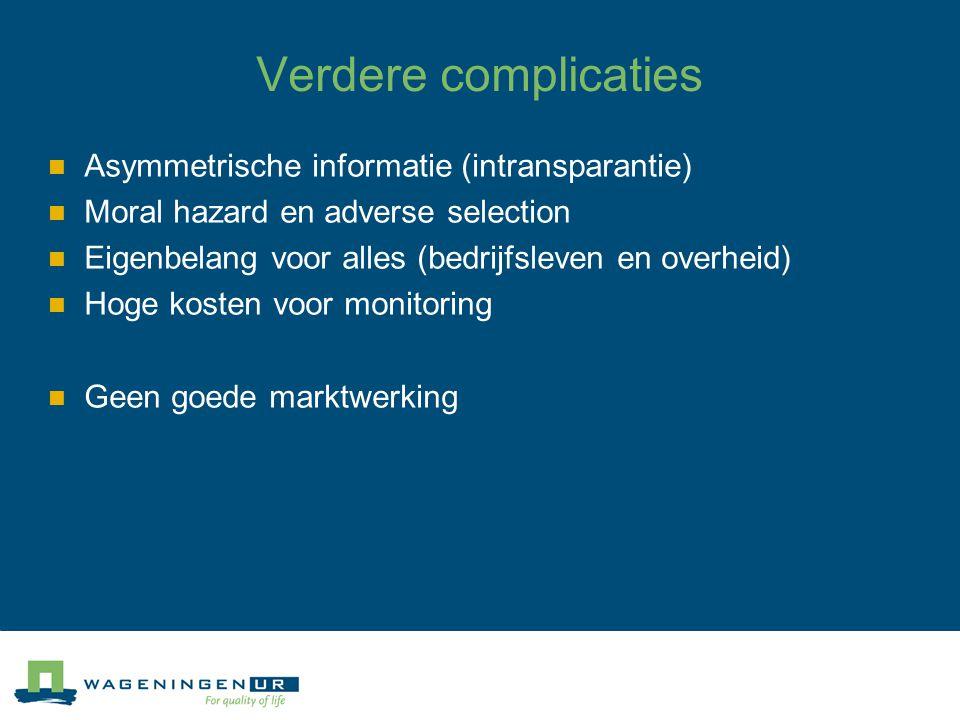 Verdere complicaties Asymmetrische informatie (intransparantie) Moral hazard en adverse selection Eigenbelang voor alles (bedrijfsleven en overheid) H