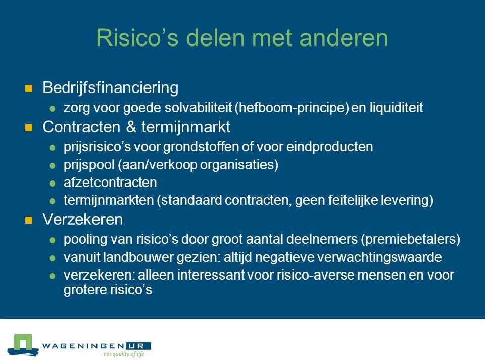 Risico's delen met anderen Bedrijfsfinanciering zorg voor goede solvabiliteit (hefboom-principe) en liquiditeit Contracten & termijnmarkt prijsrisico'