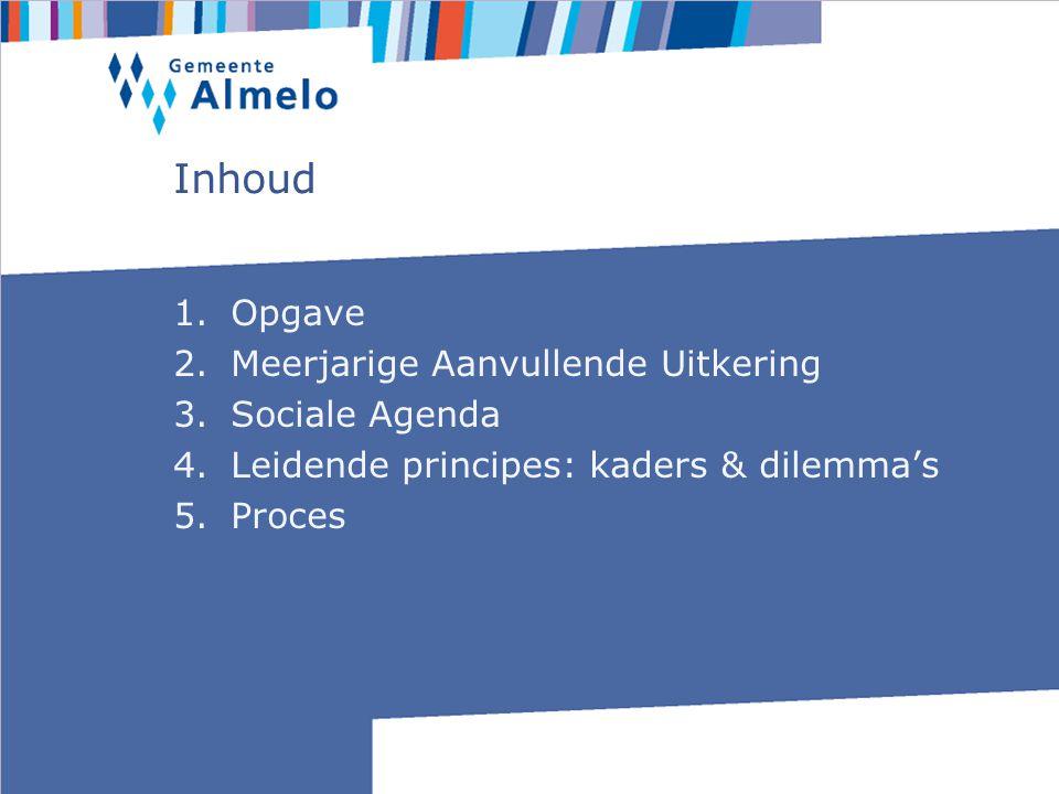 Inhoud 1.Opgave 2.Meerjarige Aanvullende Uitkering 3.Sociale Agenda 4.Leidende principes: kaders & dilemma's 5.Proces