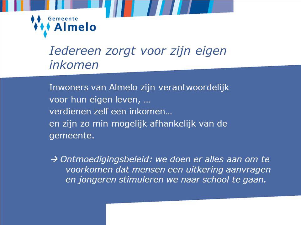 Iedereen zorgt voor zijn eigen inkomen Inwoners van Almelo zijn verantwoordelijk voor hun eigen leven, … verdienen zelf een inkomen… en zijn zo min mogelijk afhankelijk van de gemeente.