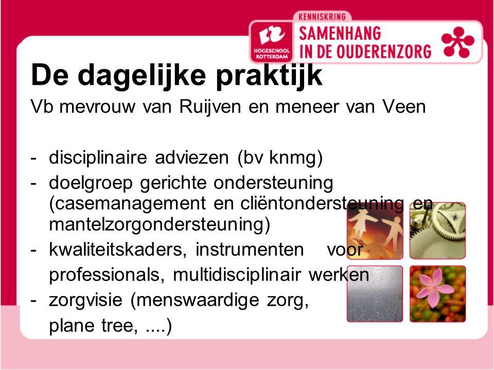 De dagelijke praktijk Vb mevrouw van Ruijven en meneer van Veen - disciplinaire adviezen (bv knmg) -doelgroep gerichte ondersteuning (casemanagement en cliëntondersteuning en mantelzorgondersteuning) -kwaliteitskaders, instrumenten voor professionals, multidisciplinair werken -zorgvisie (menswaardige zorg, plane tree,....)