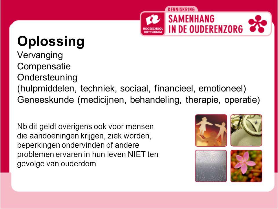 Oplossing Vervanging Compensatie Ondersteuning (hulpmiddelen, techniek, sociaal, financieel, emotioneel) Geneeskunde (medicijnen, behandeling, therapi
